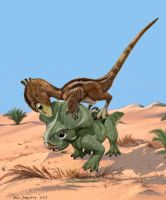 Walking With Dino, Velociraptor and Protoceratops by Psithyrus