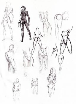 Studies of female nudes by superchickenn123