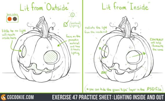 Exercise 47 Practice Sheet: Lighting Inside Out by CGCookie