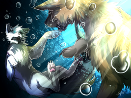 Warriors: in the water (Darktail VS Onestar) by Marshcold
