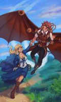 Steampunk Natsu and Lucy by Fainttwinkling