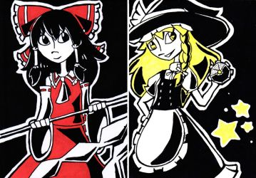 Touhou Portraits: Main Characters by technichromatic