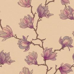 Seamless pattern. Japanese magnolia tree. by Moolver-sin