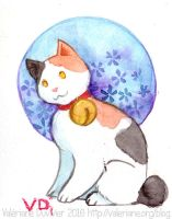 Mini watercolor : Japanese bobtail by kineko