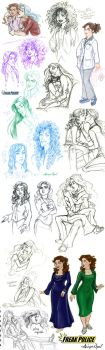 Smoochie Snuggly Sketchdump of Rose and Jeremiah by GingerOpal