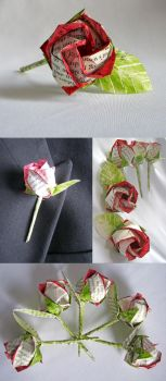 Upcycled Paper Rose Boutonnier by EccentricOcean