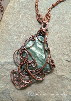 Seraphinite and copper pendant by blackcurrantjewelry