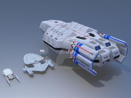 Federation Carrier USS Valkyrie Size Comparison 2 by calamitySi