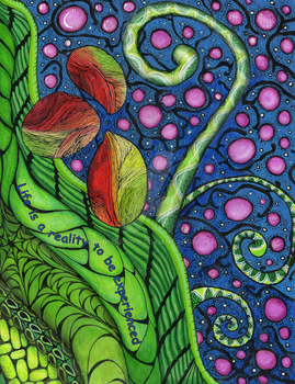 Cosmic Beanstalk in blue by Ronnibrown