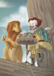 Pennywise at pride rock attending a tea party by Synerese