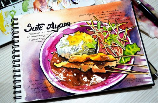 VIDEO - Food Sketch with Watercolor and Ink by Shelter85