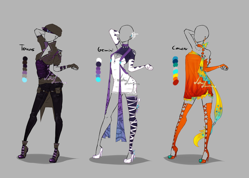 Outfit design - Zodiacs - 2 - closed by LotusLumino