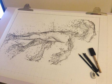 Running Water (Pencil) Showing Scale :) by Paul-Shanghai