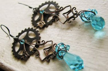 Victorian wire wrapped swarovski blue earrings by SomethingTeal