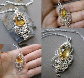 Two Pendants: Citrine and Sterling Silver by blackcurrantjewelry