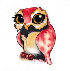 Owl watercolour by Marekx