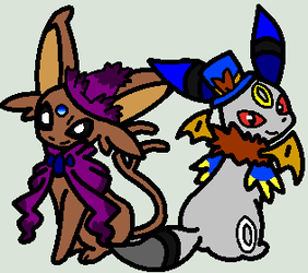 Espeon Wing and Umbreon Sly Dressed Up by KyuubiVictoria