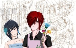 Helping at The Flower Shop WIP by Venthor78