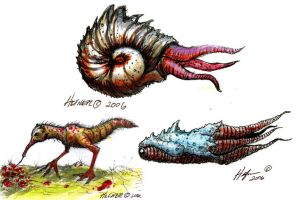 3 creature designs for The Serpent Seed Trilogy by HalHefnerART