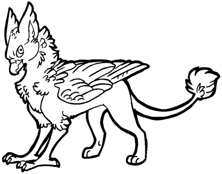 Free gryphon lineart [MS Paint friendly] by xSitax