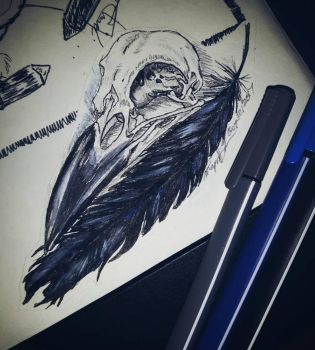 Raven Skull and feather tattoo by Magan1996