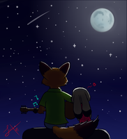 I'm lying on the moon, my dear by juantriforce