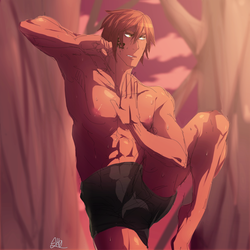 The kind of guy to train in the woods. in shorts. by SH0DOBERI