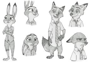 Judy and Nick Sketches by Ziegelzeig