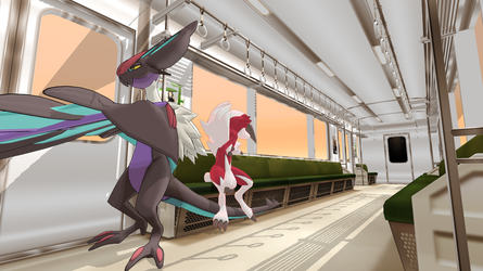 [MMD] Noivern and Midnight Lycanroc by sidekick101