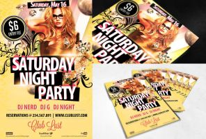 FREE PSD FLYER - Saturday Night Party by dianaghiba