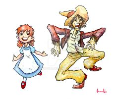 Dorothy and Scarecrow Study by lervold