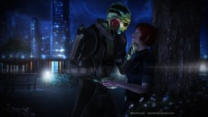 Heads and Hearts - Thane and Morgan Shepard by STan94