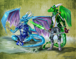 Colored Sketch Commish: ~Ari and Rylus~ The View ~ by EternalDragoness