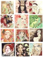 12 faces with gold by Alice-Bobbaji