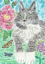 Gray and white cat watercolor painting by tulipteardrops