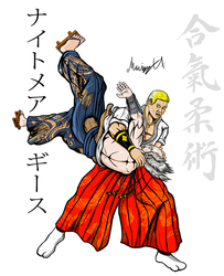 Geese Howard doing Tenchi-nage on Heihachi Colored by MarioUComics