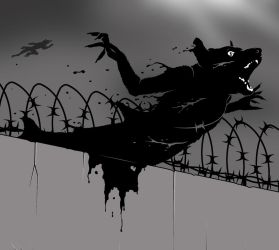 Werewolf caught in barbed wire by Midwinter-Creations