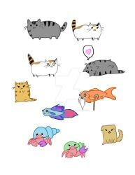 My Pets in Pusheen style by Moonlight-Bloomer