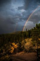 Double Rainbow over Yellowstone Park by JessicaDobbs