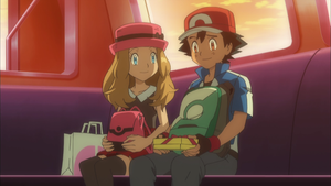 Ash and Serena on monorail by GregoryMoralesJR2016