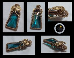 Teal And Gold Pendant by ACrowsCollection