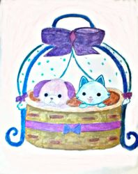 puppy and kitty in the basket by stacylyn