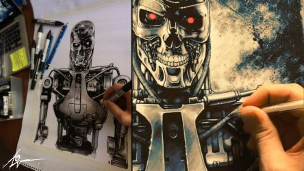 Terminator (PAINTING PROCESS) Video *WATCH HERE!* by Lovell-Art