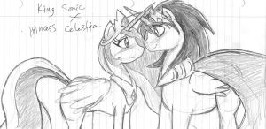 Celestia and Sonic (request) by SonicMiku