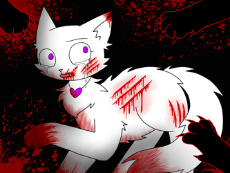 The white fur will stain in the blood. by mihopony