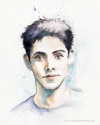Colin Morgan Watercolor by disco-mouse