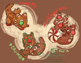Gingerbread Dragon Hatchling Concepts by The-SixthLeafClover