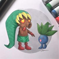 Deku Link and Oddish by WolfJayden