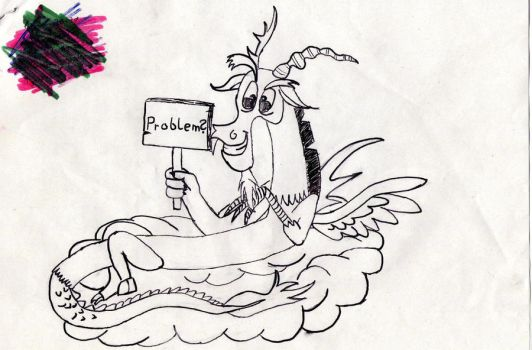 Discord sketch :title ''thee best pony?'' by Bubim