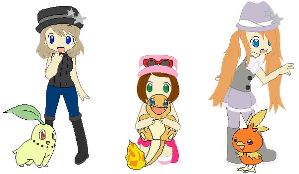 Pokemon girls (with hats) by VeronicaPrower